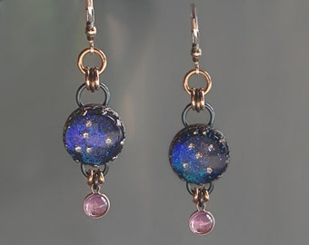 Starry Sapphire Night Sky Earrings, Stars in Sapphire Sky Earrings by Jackie Taylor Designs