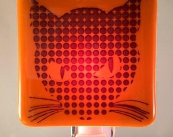 Vintage Halloween Cat Night Light Fused Glass