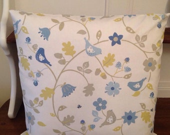 Blue & yellow birds and leaves cushion