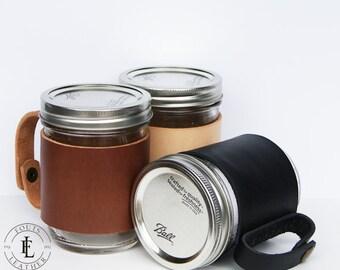 Leather Wrapped Mason Jar Sleeve - Travel Mug