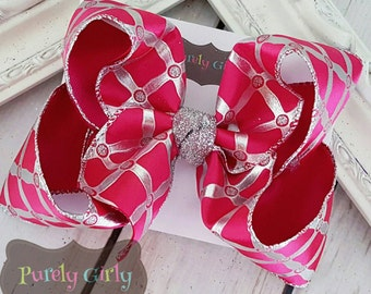 Hot Pink Hairbow Shocking Pink Bow Large with Silver Bow