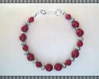 red bracelet, dark red bracelet, red, silver