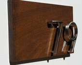 Modern Oversized House Numbers Plaque. Mid Century Address Sign, Free Shipping, Quality Solid Mahogany with Yacht Gloss Finish.