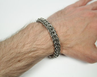 Flat Full Persian Bracelet, Chainmaille Bracelet, Stainless Steel, Chainmail Bracelet, Chain Maille Bracelet, Mens Bracelet, Mens Jewelry