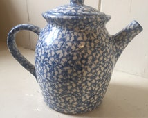 Roseville spongeware pitcher/coffeepot, Robinson Ransbottom Gerald Henn