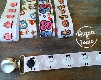 Universal Pacifier Clips YOU CHOOSE - Soothie MAM Nuk Gumdrop Soother Clips - Pacifier Holders - Owls Monkeys Sheep