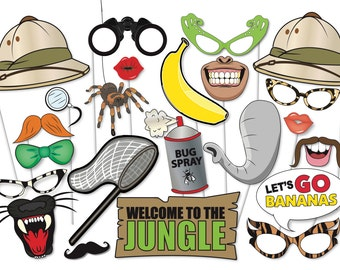 Jungle Safari Photo booth Props Set - 26 Piece PRINTABLE -  Jungle, Safari, moustache, masks, Baby shower Photo Booth Props