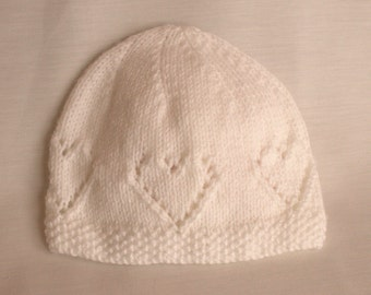 White Hand Knitted hearts Hat