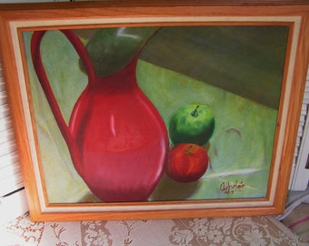 Beatutiful Vintage Still Life Fruit and Pitcher Warm Colors Original Oil Painting on Canvas With Wood Frame Signed by Artist Alphee