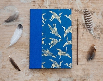 Hand Bound Journal / Notebook - Blue & Gold Stalks - A5 - Long Stitch - Exposed Stitch Spine - Travel Journal - Heron / Birds - Sketchbook