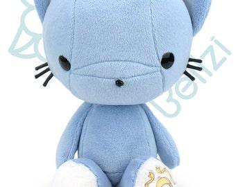"Bellzi® Cute Cat Plush Stuffed Animal Toy ""Blue"" w/ White Contrast Kitty Plushie - Kitti"