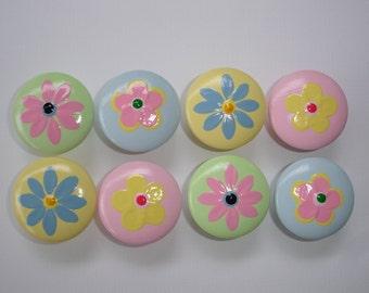 Set of 8 Hand Painted Flower Dresser Drawer Knobs
