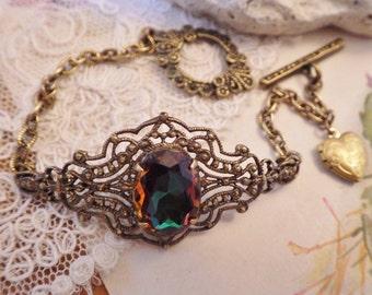 Green Topaz ~ Filigree Bracelet ~ Vintage Glass ~ Rare Volcano Rhinestone ~ by LadyofTheLakeJewels
