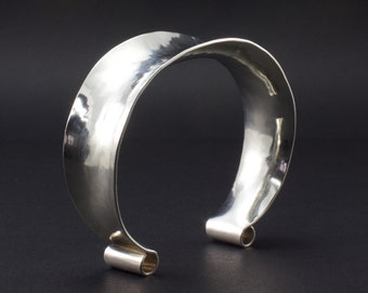 Sterling Silver Cuff Bracelet - Anticlastic Cuff Bracelet - Curly Rolled Ends - Woman's Sterling Cuff - Comfort Fit Cuff