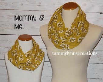 Mommy & Me Mustard Yellow with Burnt Umber Cotton Blossoms Infinity Scarf Cotton Infinity Women's Girl's Accessories