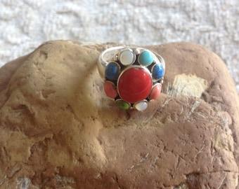 BLACK FRIDAY SALE: Multi Gem Ring-Bezel Set Coral Turquoise Lapis Oval Ring-Vintage Sterling Silver Coral Ring-Lapis Ring-Turquoise Ring