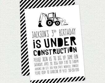 Printable Construction Birthday Invitation - Boy Birthday Invitation