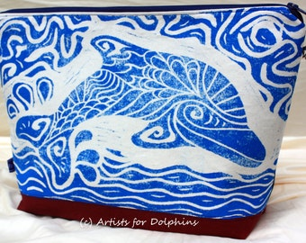 Cosmetic bag; hand printed dolphin bag;
