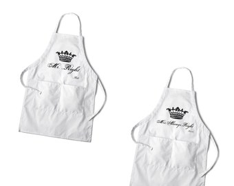 Personalized Couples Apron Set - Grilling Custom Couples Aprons - Couples Gifts - Set of Aprons - GC1378royal