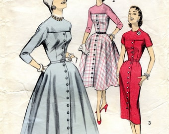 1950s Dress Pattern / Fit and Flare / Slim or Full Skirt / Button Front / Kimono Sleeve / Vintage Sewing Pattern / Advance 7888 Bust 30