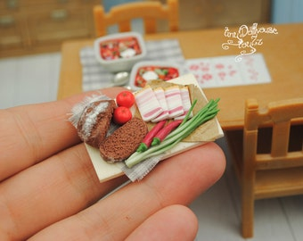 Culinary Miniature Board with bread, Spek, tomatoes, peppers of fimo, polymer dessert, miniature food
