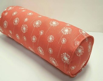 Dandelion Floral Premier Prints Small Dandelion Coral White Color Decorative Indoor Pillow / Lumbar and Bolster Cover with Hidden Zipper