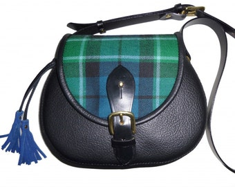 Bespoke Strathearn leather bag with your choice of leather, tartan and lining