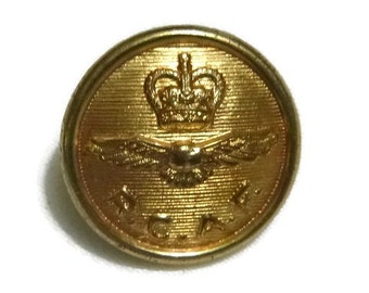 Vintage 50s RCAF Military Brass Button Royal Canadian Air Force Historical Militaria Canadian Military Memorabilia Collectible Craft Supply