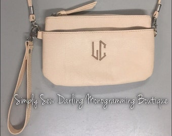 Embroidered Personalized Monogrammed Cream Faux Leather Petite Clutch Wristlet purse