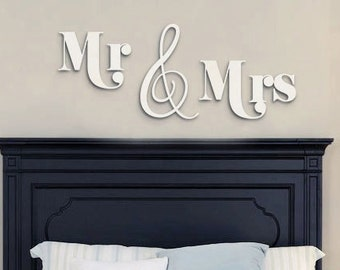 MR & MRS sign Wood Letters,Wall Décor-Painted Wood Letters, Wall Letters