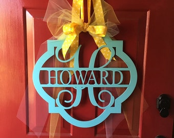 Wooden Monogram - Unpainted Wood Monogram - Initial Door Hanger - Family Monogram Wreath - Housewarming Gift - Wedding Gift - Personalized