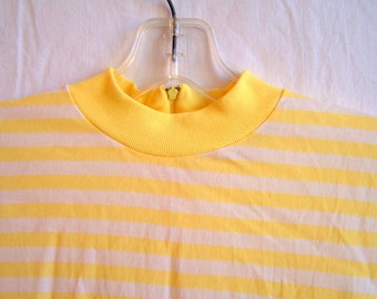 "Yellow and white top, 34"" chest, size Small"