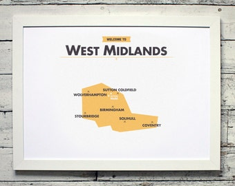 West Midlands County Map | # poster, vintage, retro, print