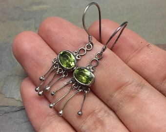 Vintage sterling silver earrings, 925 silver with peridot drops, stamped 925