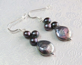 Freshwater Pearl Sterling Silver Earrings.