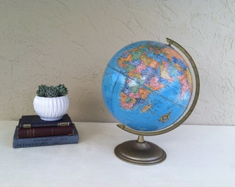 """Vintage 12"""" CRAM'S IMPERIAL World Globe w/ Distances between Cities,Raised Topography Mountain Ranges.  Home/Office/Credenza Vintage decor."""