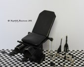 Adult Dollhouse Miniature Gothic BDSM  Fetish Black Leather Gyne Chair made to 1:12 scale