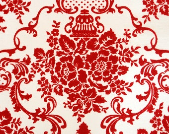 Vintage 1960's White + Red Vevlet Victorain French Damask Thick Wallpaper Roll Crafts Scrapbooking