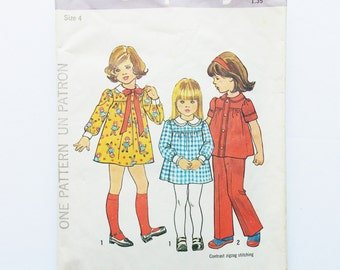 Simplicity 7063 children size 4, vintage sewing pattern, children dress, top and pants, 1975's pattern, sewing supplies, Simplicity pattern.
