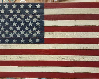 Large Wood Flag - Military gift - Forth of July - Reclaimed Wood American Flag - Americana
