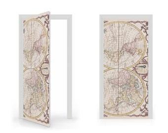 DoorWrap: 18th Century World Map Vinyl Sticker for Door