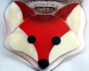 Fused glass Fantastic Fox suncatcher - UK Maker - CAVETSY team