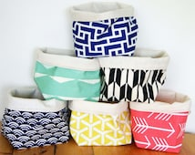 Fabric storage basket, storage bin or gift wrapping made from organic cotton, eco friendly storage, Happy Bucket
