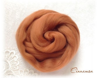 Extrafine Merino WOOL Dyed TOPS  19 Microns color Cinnamon per 25 gr felting spinning teddy bear making supplies