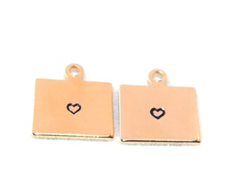 2x Gold Plated Wyoming State Charms w/ Hearts - M115/H-WY