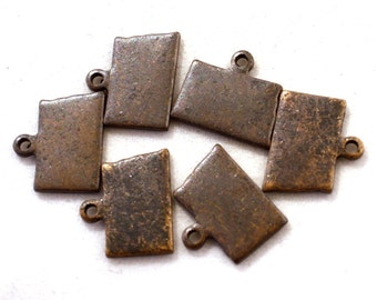 6x Antique Brass / Brown Patina Blank North Dakota State Charms - M073/AB-ND