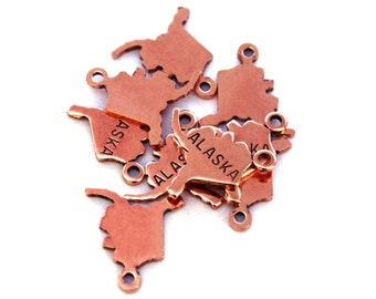 2x Rose Gold Plated Engraved Alaska State Charms - M131-AK