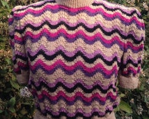Beautiful Jumper Hand Knitted from an Original 1940's Knitting Pattern - Vintage Sweater - Knitwear - Stripes