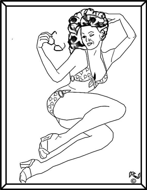 Pin Up Girl In Bkini With Sunglasses By Kjscrazydoodles On Pin Up Coloring Book Free
