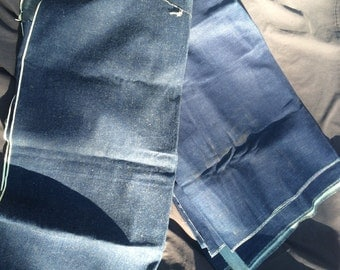 Vintage denim yardage, 2 pieces.dark denim.